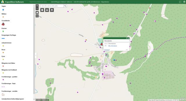 Skärmavbild med kartbild från Expedition kulturarv.