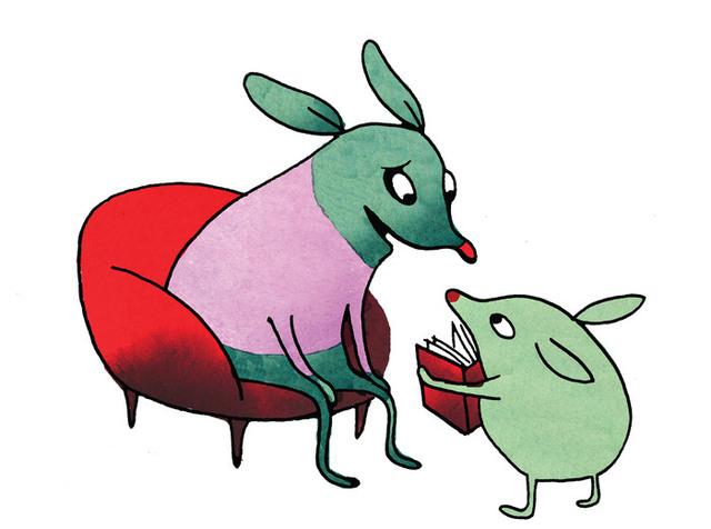 Illustration där en stor figur sitter i en röd fåtölj och tittar på en liten figur som håller fram en bok med röd pärm.