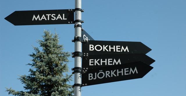 Skyltar som visar vägen till olika hus på Katrinebergs folkhögskola.