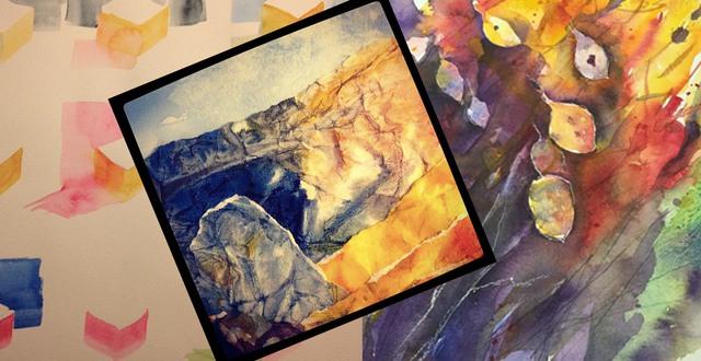 Kollage av tre olika akvarellmålningar.