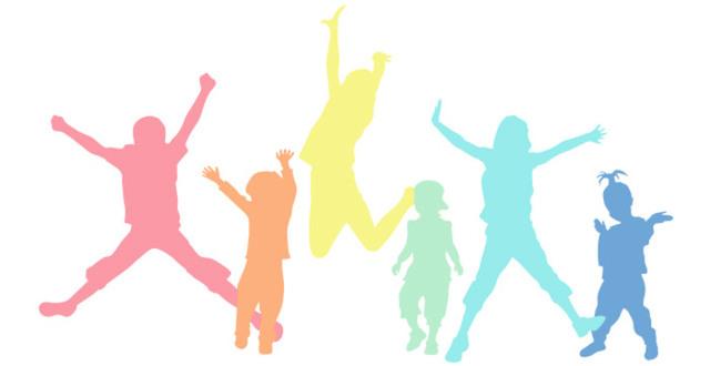 Tecknade barn som dansar.