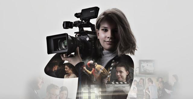 Tjej med filmkamera i ett kollage med andra deltagare från Filmlinje