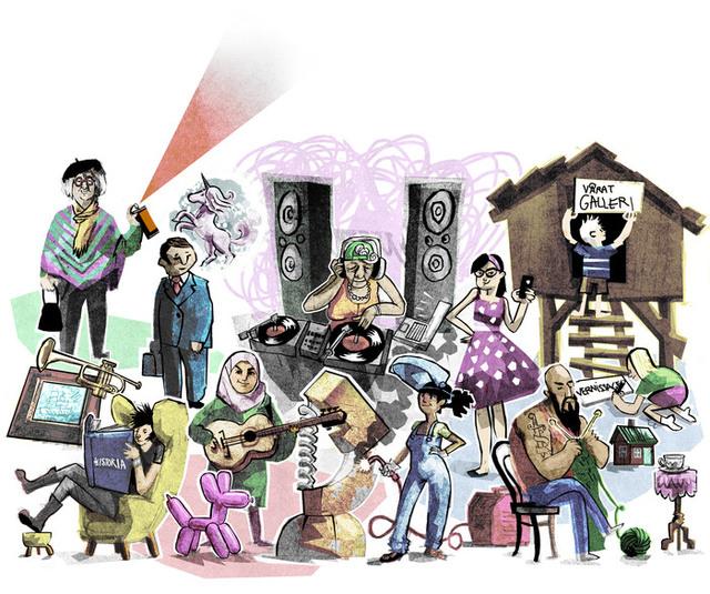 Illustration med personer i olika åldrar och olika utseende som utövar olika former av kultur.